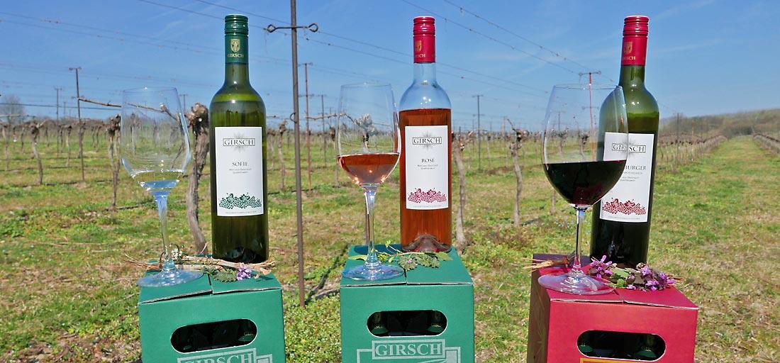 Weißwein, Roséwein und Rotwein